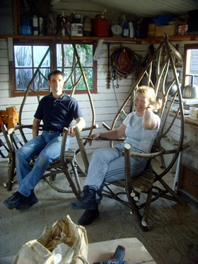 Two rustic chairs